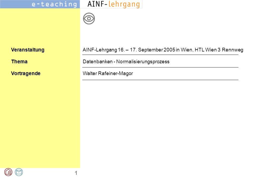 1 VeranstaltungThemaVortragende AINF-Lehrgang 16. – 17. September 2005 in Wien, HTL Wien 3 Rennweg Datenbanken - Normalisierungsprozess Walter Rafeine