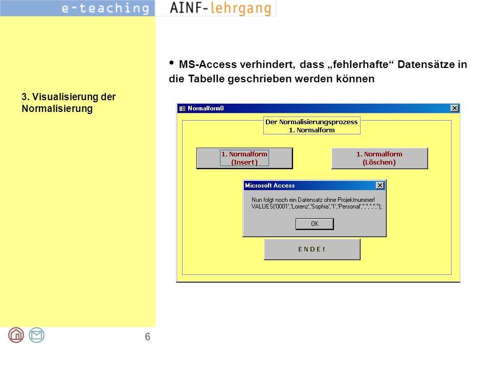 """6 3. Visualisierung der Normalisierung MS-Access verhindert, dass """"fehlerhafte"""" Datensätze in die Tabelle geschrieben werden können"""
