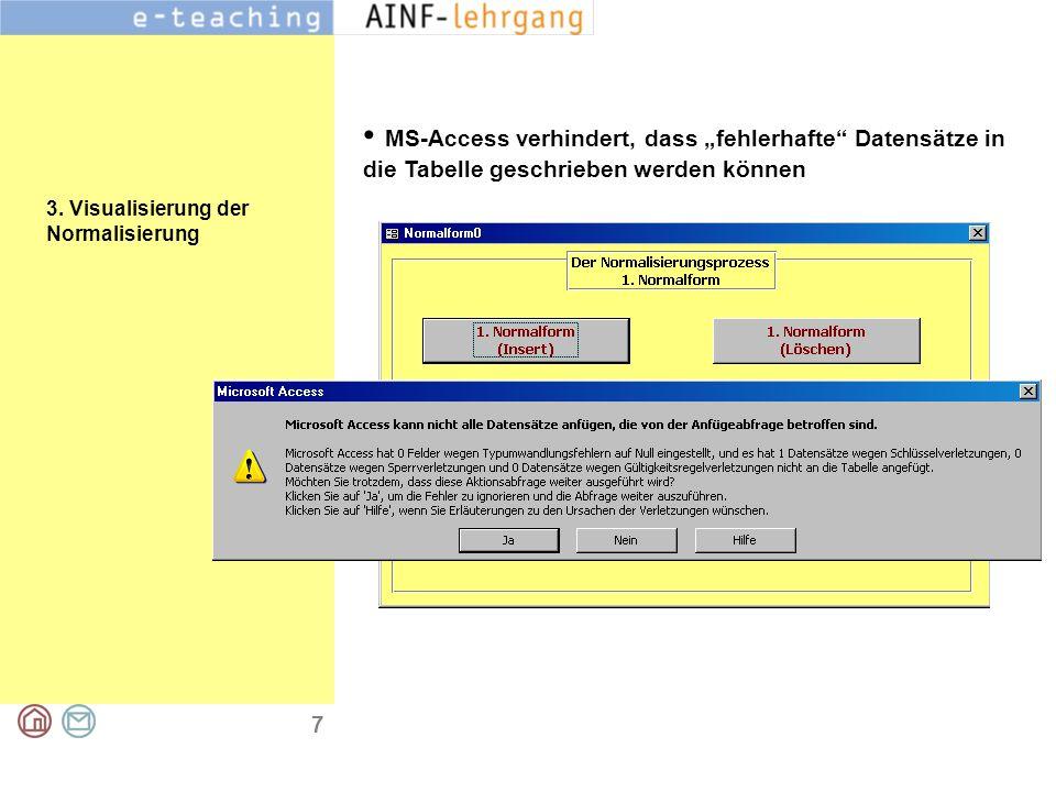 """7 3. Visualisierung der Normalisierung MS-Access verhindert, dass """"fehlerhafte"""" Datensätze in die Tabelle geschrieben werden können"""