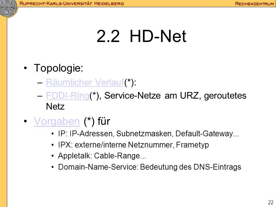 22 2.2 HD-Net Topologie: –Räumlicher Verlauf(*):Räumlicher Verlauf –FDDI-Ring(*), Service-Netze am URZ, geroutetes NetzFDDI-Ring Vorgaben (*) fürVorga
