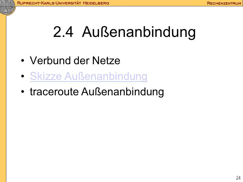 24 2.4 Außenanbindung Verbund der Netze Skizze Außenanbindung traceroute Außenanbindung