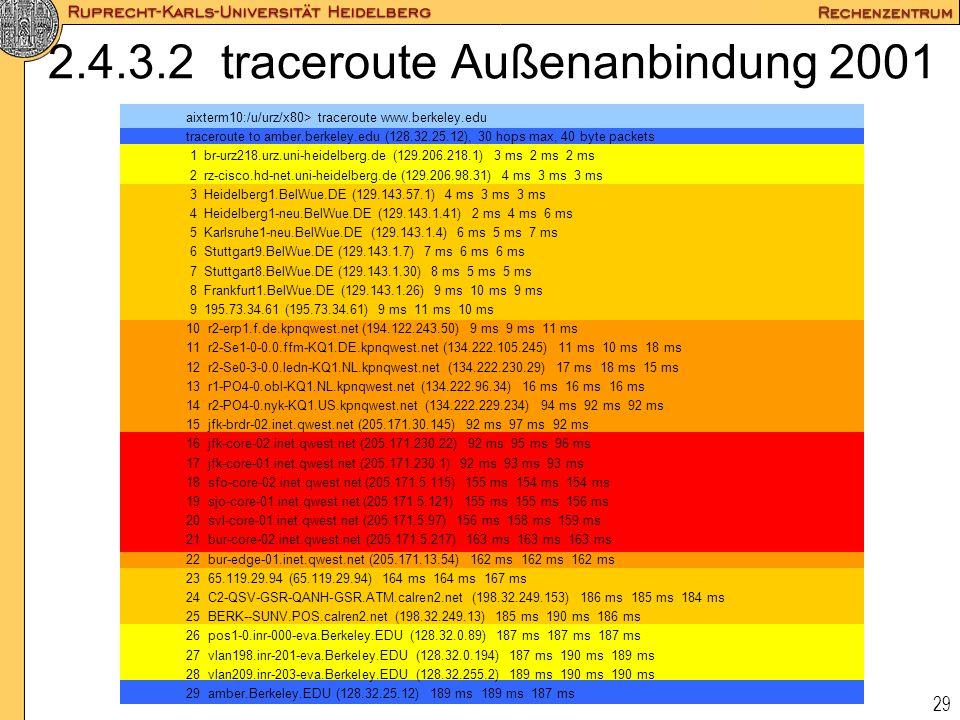 29 2.4.3.2 traceroute Außenanbindung 2001 aixterm10:/u/urz/x80> traceroute www.berkeley.edu traceroute to amber.berkeley.edu (128.32.25.12), 30 hops m