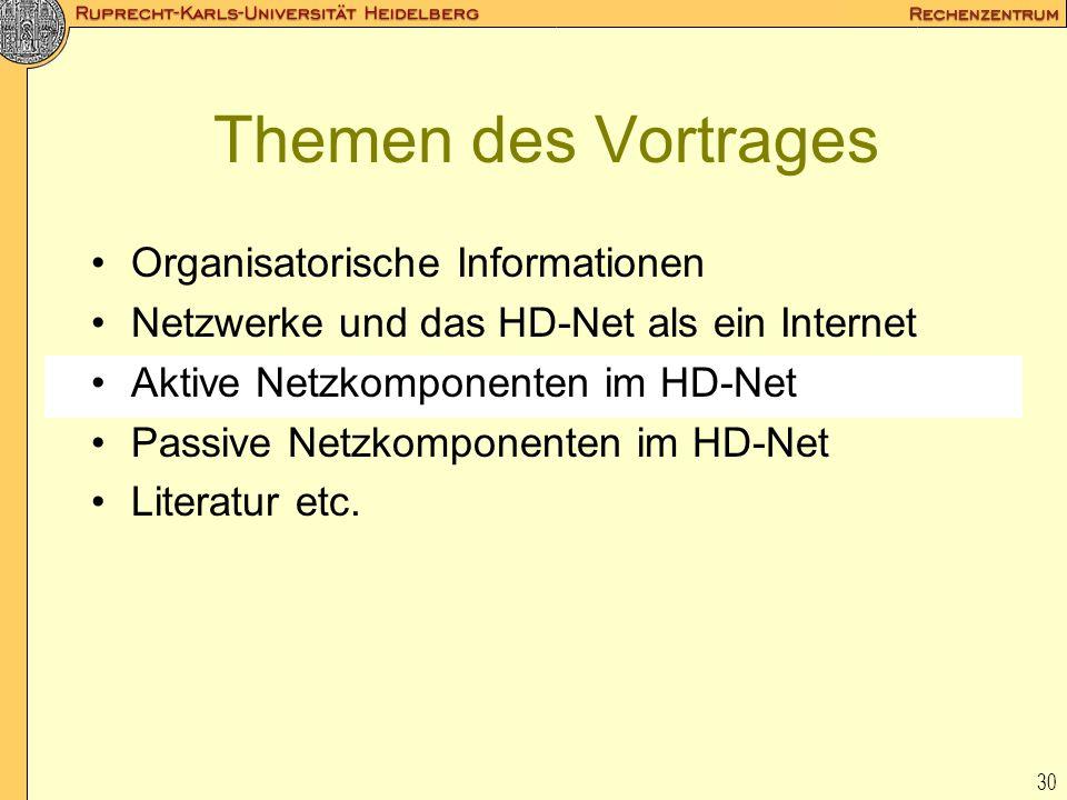 30 Themen des Vortrages Organisatorische Informationen Netzwerke und das HD-Net als ein Internet Aktive Netzkomponenten im HD-Net Passive Netzkomponen