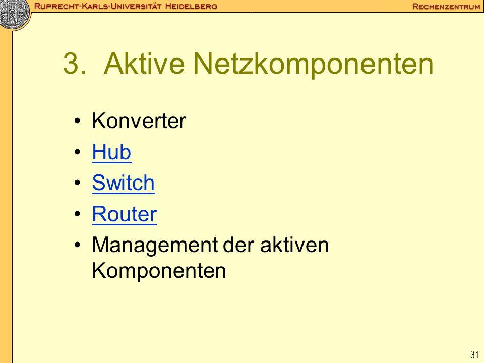 31 3. Aktive Netzkomponenten Konverter Hub Switch Router Management der aktiven Komponenten