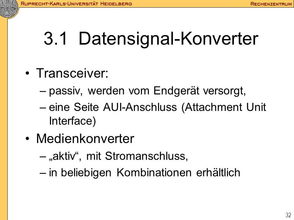 32 3.1 Datensignal-Konverter Transceiver: –passiv, werden vom Endgerät versorgt, –eine Seite AUI-Anschluss (Attachment Unit Interface) Medienkonverter