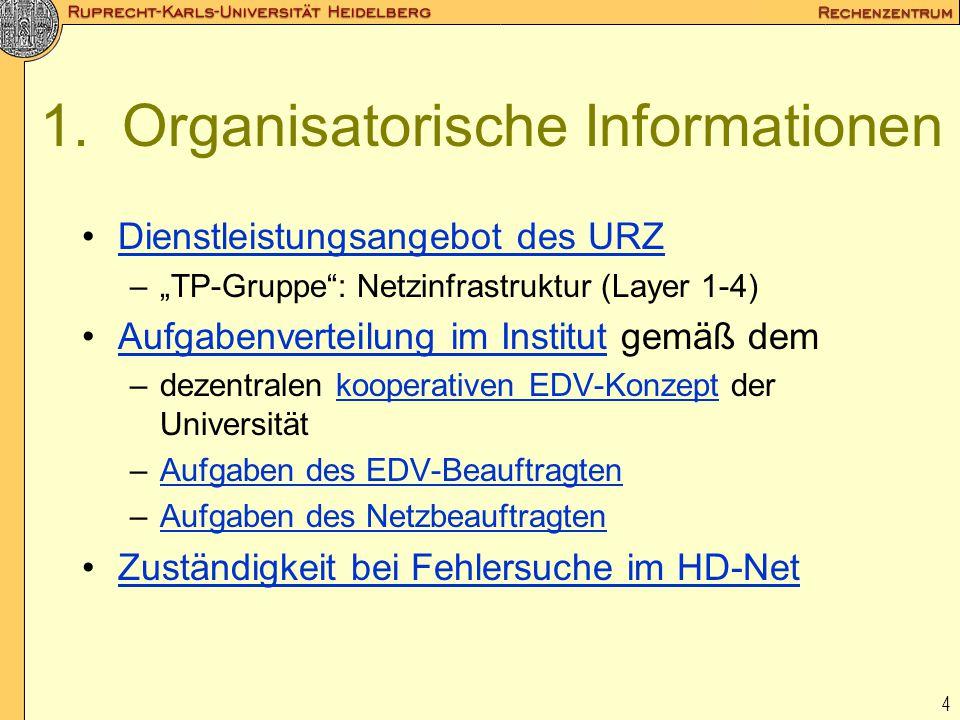"""4 1. Organisatorische Informationen Dienstleistungsangebot des URZ –""""TP-Gruppe"""": Netzinfrastruktur (Layer 1-4) Aufgabenverteilung im Institut gemäß de"""