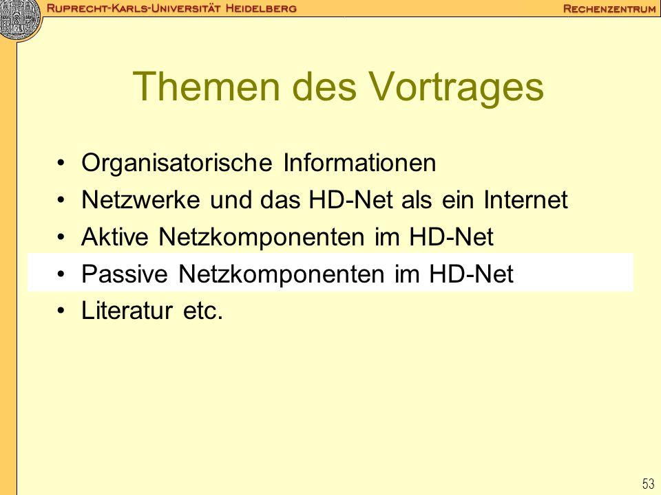 53 Themen des Vortrages Organisatorische Informationen Netzwerke und das HD-Net als ein Internet Aktive Netzkomponenten im HD-Net Passive Netzkomponen