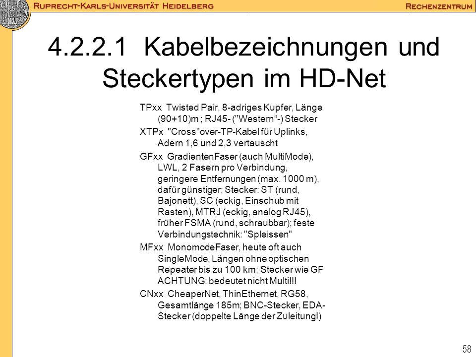 58 4.2.2.1 Kabelbezeichnungen und Steckertypen im HD-Net TPxx Twisted Pair, 8-adriges Kupfer, Länge (90+10)m ; RJ45- (