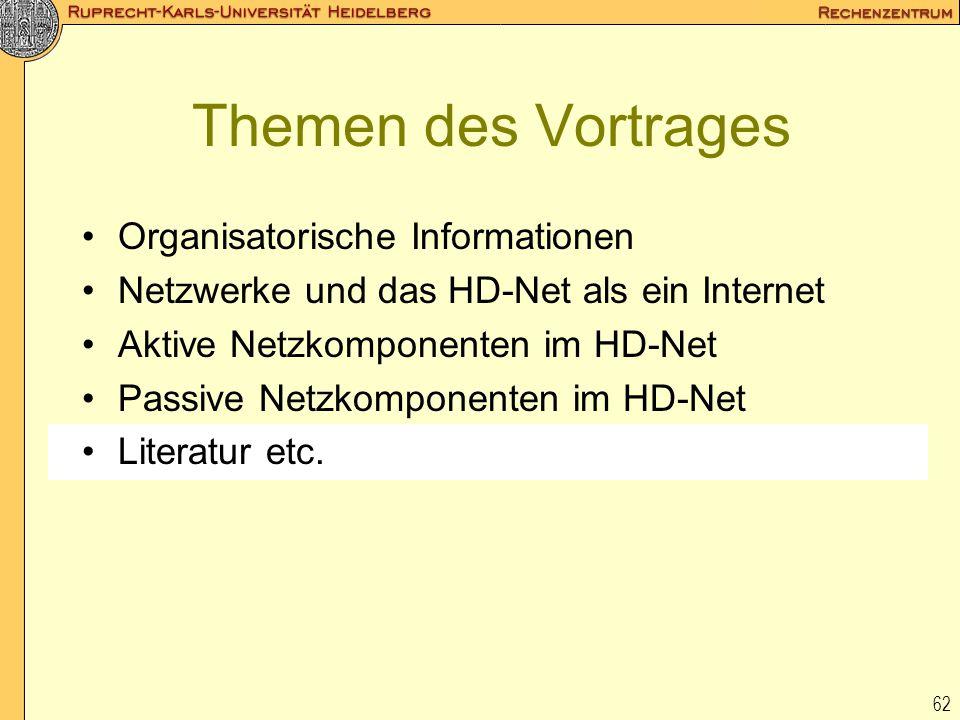 62 Themen des Vortrages Organisatorische Informationen Netzwerke und das HD-Net als ein Internet Aktive Netzkomponenten im HD-Net Passive Netzkomponen