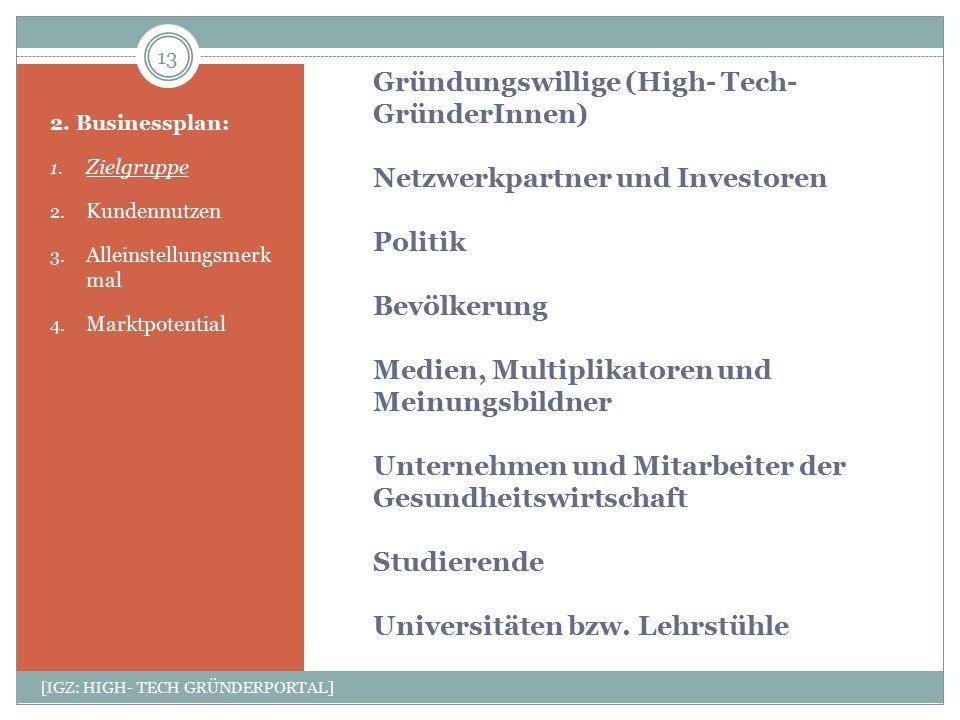 Gründungswillige (High- Tech- GründerInnen) Netzwerkpartner und Investoren Politik Bevölkerung Medien, Multiplikatoren und Meinungsbildner Unternehmen