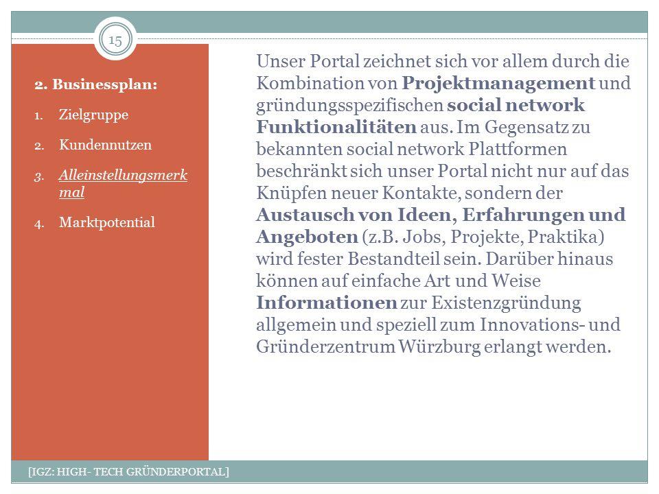 Unser Portal zeichnet sich vor allem durch die Kombination von Projektmanagement und gründungsspezifischen social network Funktionalitäten aus. Im Geg