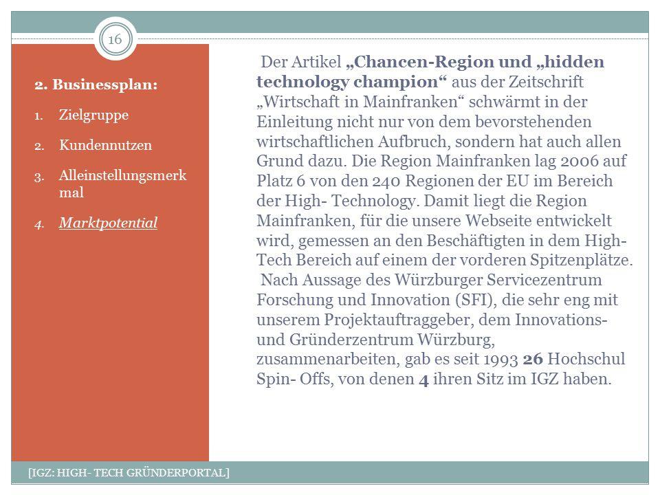 """Der Artikel """"Chancen-Region und """"hidden technology champion"""" aus der Zeitschrift """"Wirtschaft in Mainfranken"""" schwärmt in der Einleitung nicht nur von"""