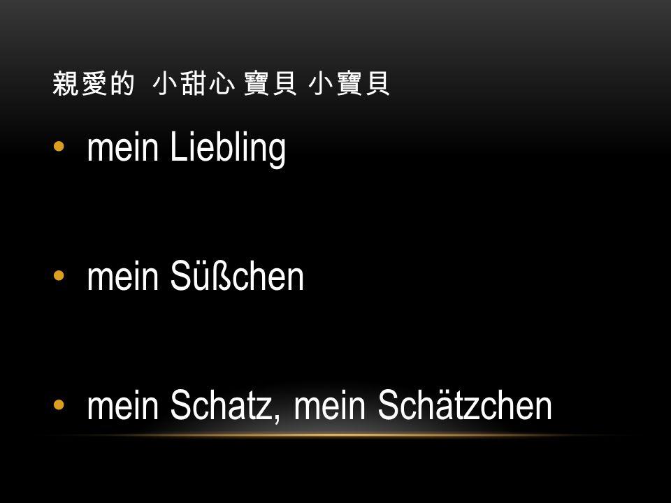 親愛的 小甜心 寶貝 小寶貝 mein Liebling mein Süßchen mein Schatz, mein Schätzchen