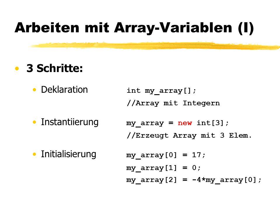 Arbeiten mit Array-Variablen (II) Alternative: Alle 3 Schritte auf Einmal Deklaration mit impliziter Erschaffung + Initialisierung: int my_array[ ] = {45, -117, 12, 0, 999}; erschafft ein 5-elementiges Array und initialisiert es mit den aufgezählten Werten (angefangen bei Index 0).