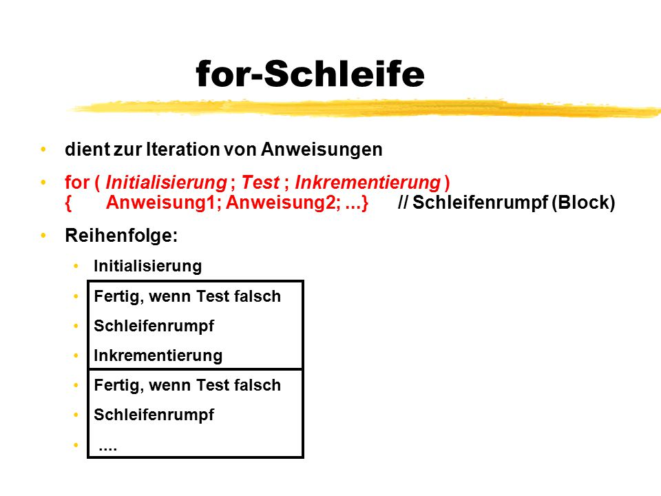 for-Schleife dient zur Iteration von Anweisungen for ( Initialisierung ; Test ; Inkrementierung ) {Anweisung1; Anweisung2;...} // Schleifenrumpf (Bloc