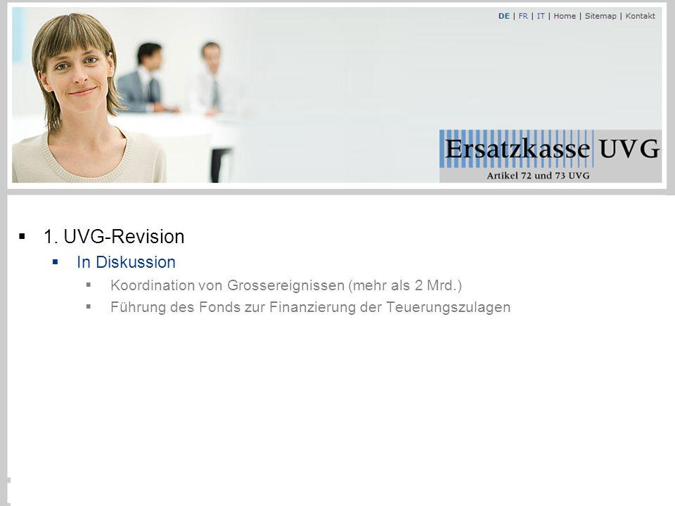  1. UVG-Revision  In Diskussion  Koordination von Grossereignissen (mehr als 2 Mrd.)  Führung des Fonds zur Finanzierung der Teuerungszulagen