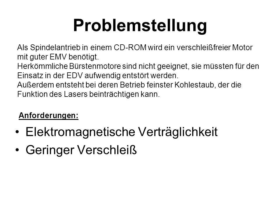 Problemstellung Elektromagnetische Verträglichkeit Geringer Verschleiß Als Spindelantrieb in einem CD-ROM wird ein verschleißfreier Motor mit guter EM