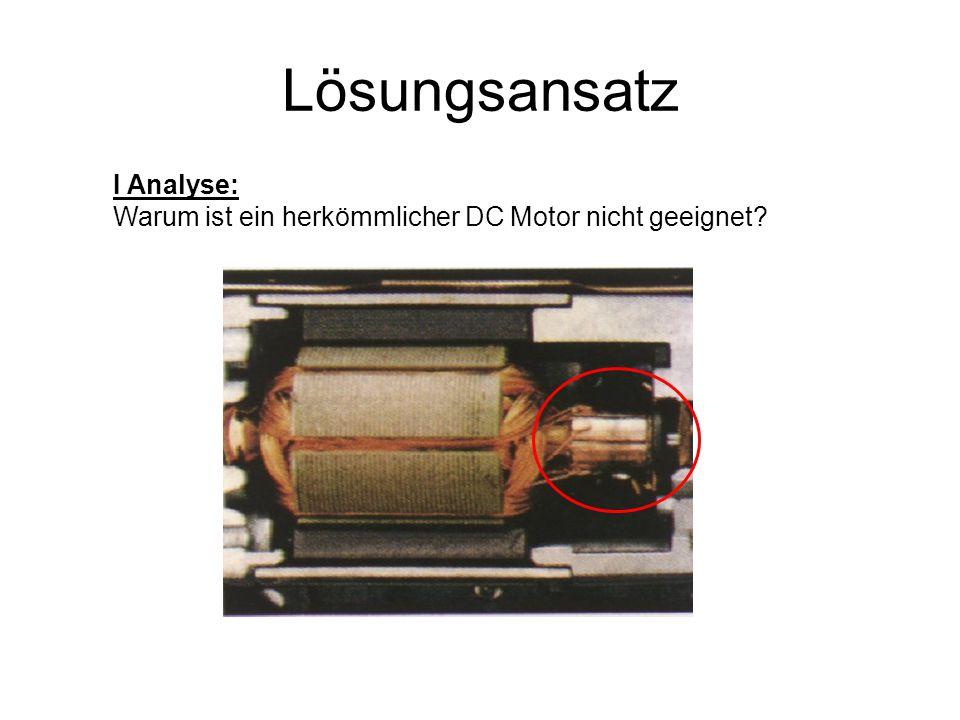 Lösungsansatz I Analyse: Warum ist ein herkömmlicher DC Motor nicht geeignet?