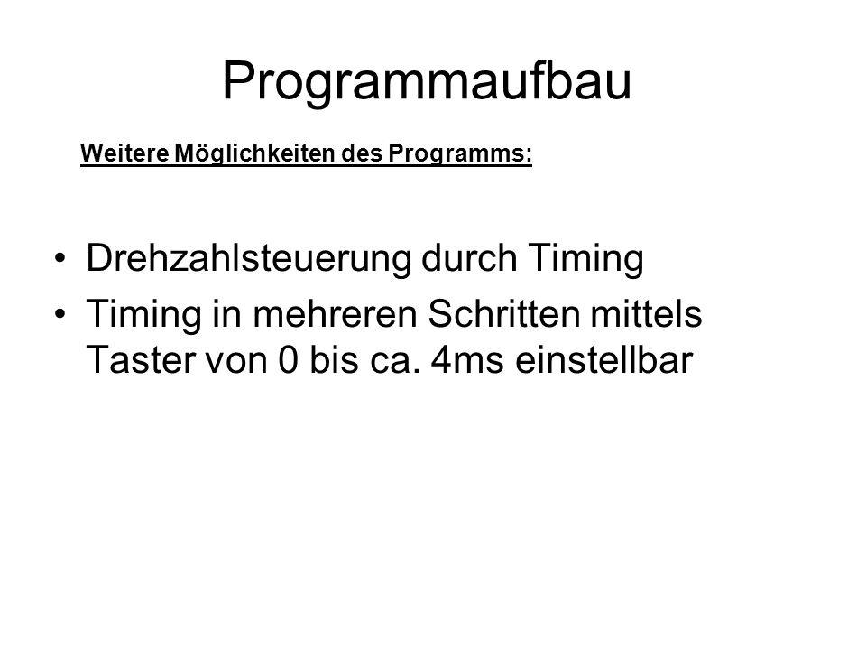 Programmaufbau Drehzahlsteuerung durch Timing Timing in mehreren Schritten mittels Taster von 0 bis ca. 4ms einstellbar Weitere Möglichkeiten des Prog