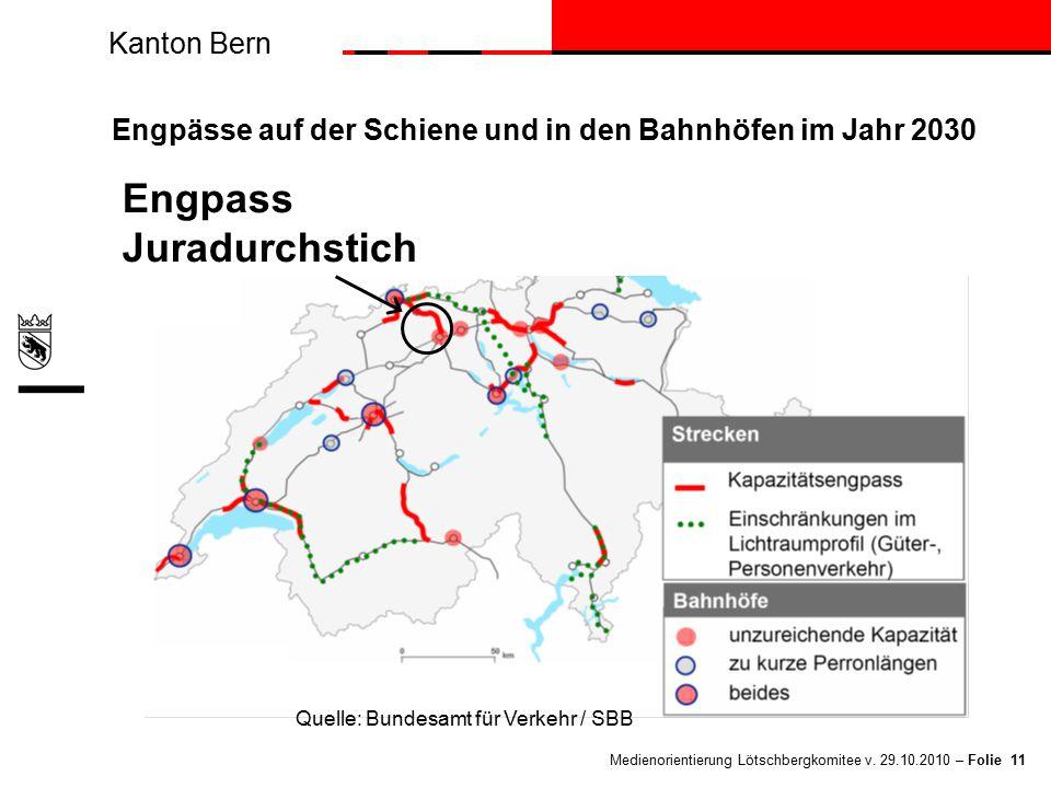 Kanton Bern Medienorientierung Lötschbergkomitee v. 29.10.2010 – Folie 11 Engpässe auf der Schiene und in den Bahnhöfen im Jahr 2030 Engpass Juradurch
