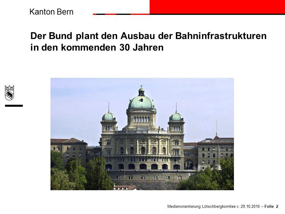 Kanton Bern Medienorientierung Lötschbergkomitee v. 29.10.2010 – Folie 2 Der Bund plant den Ausbau der Bahninfrastrukturen in den kommenden 30 Jahren