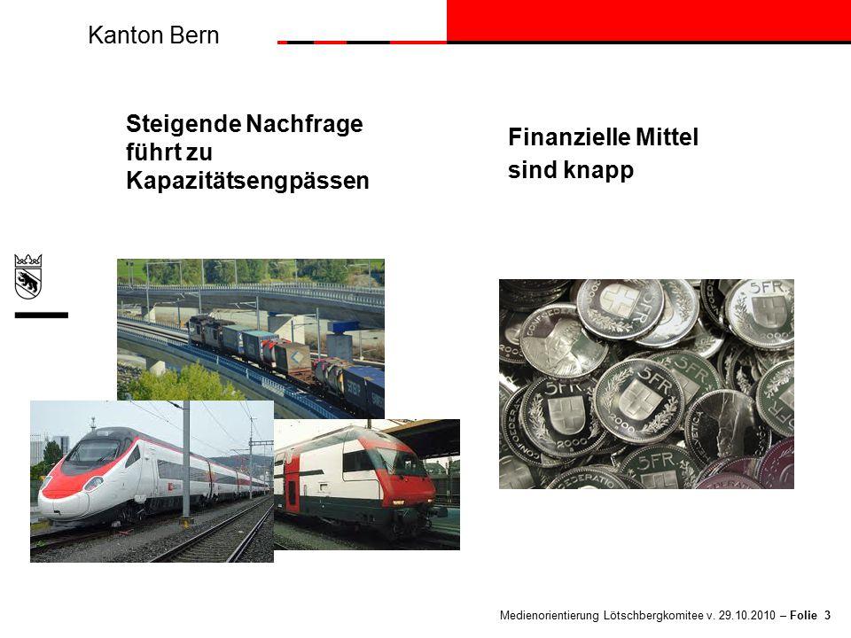 Kanton Bern Medienorientierung Lötschbergkomitee v. 29.10.2010 – Folie 3 Steigende Nachfrage führt zu Kapazitätsengpässen Finanzielle Mittel sind knap