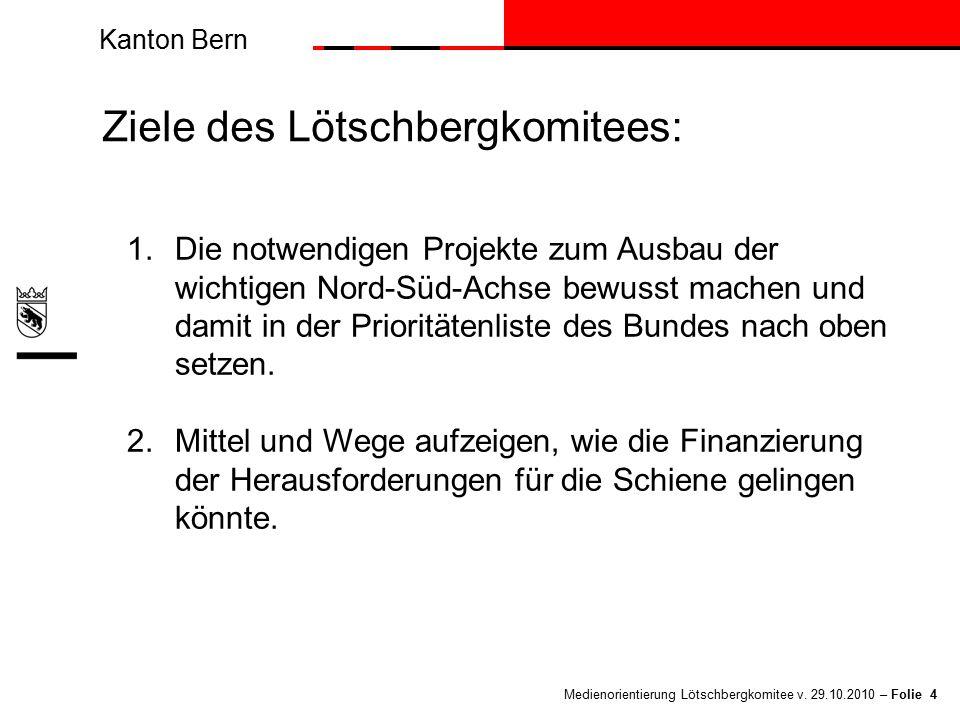 Kanton Bern Medienorientierung Lötschbergkomitee v. 29.10.2010 – Folie 4 Ziele des Lötschbergkomitees: 1.Die notwendigen Projekte zum Ausbau der wicht