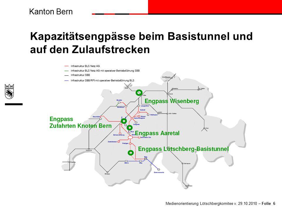 Kanton Bern Medienorientierung Lötschbergkomitee v. 29.10.2010 – Folie 6 Kapazitätsengpässe beim Basistunnel und auf den Zulaufstrecken