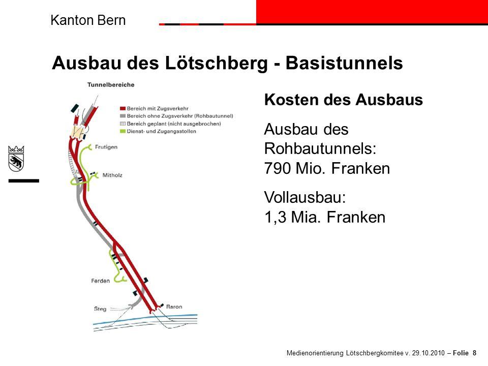 Kanton Bern Medienorientierung Lötschbergkomitee v. 29.10.2010 – Folie 8 Ausbau des Lötschberg - Basistunnels Kosten des Ausbaus Ausbau des Rohbautunn