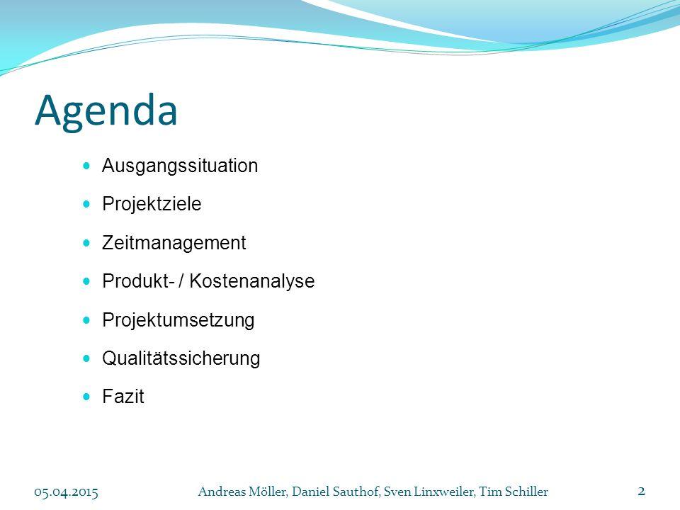Agenda Ausgangssituation Projektziele Zeitmanagement Produkt- / Kostenanalyse Projektumsetzung Qualitätssicherung Fazit 2 Andreas Möller, Daniel Sauthof, Sven Linxweiler, Tim Schiller 05.04.2015