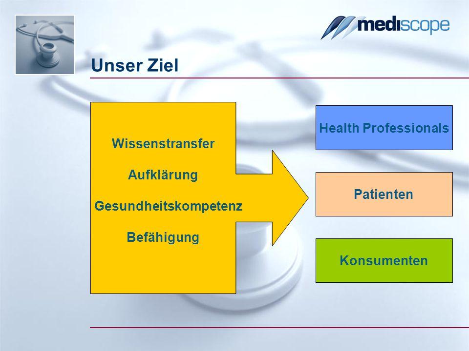 Unser Ziel Health Professionals Patienten Konsumenten Wissenstransfer Aufklärung Gesundheitskompetenz Befähigung