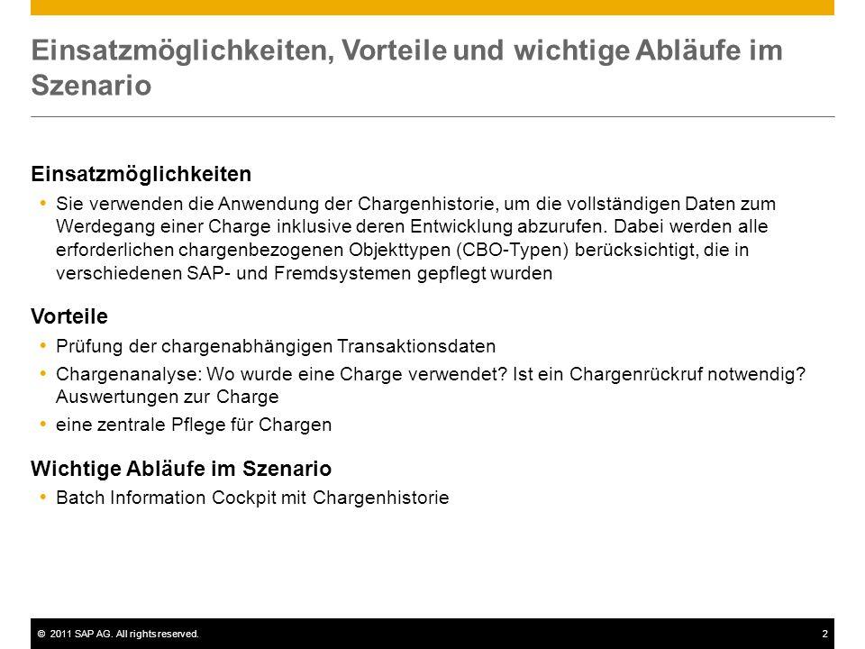 ©2011 SAP AG. All rights reserved.2 Einsatzmöglichkeiten, Vorteile und wichtige Abläufe im Szenario Einsatzmöglichkeiten  Sie verwenden die Anwendung