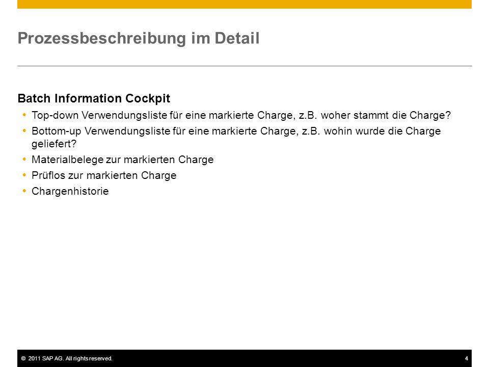 ©2011 SAP AG. All rights reserved.4 Prozessbeschreibung im Detail Batch Information Cockpit  Top-down Verwendungsliste für eine markierte Charge, z.B