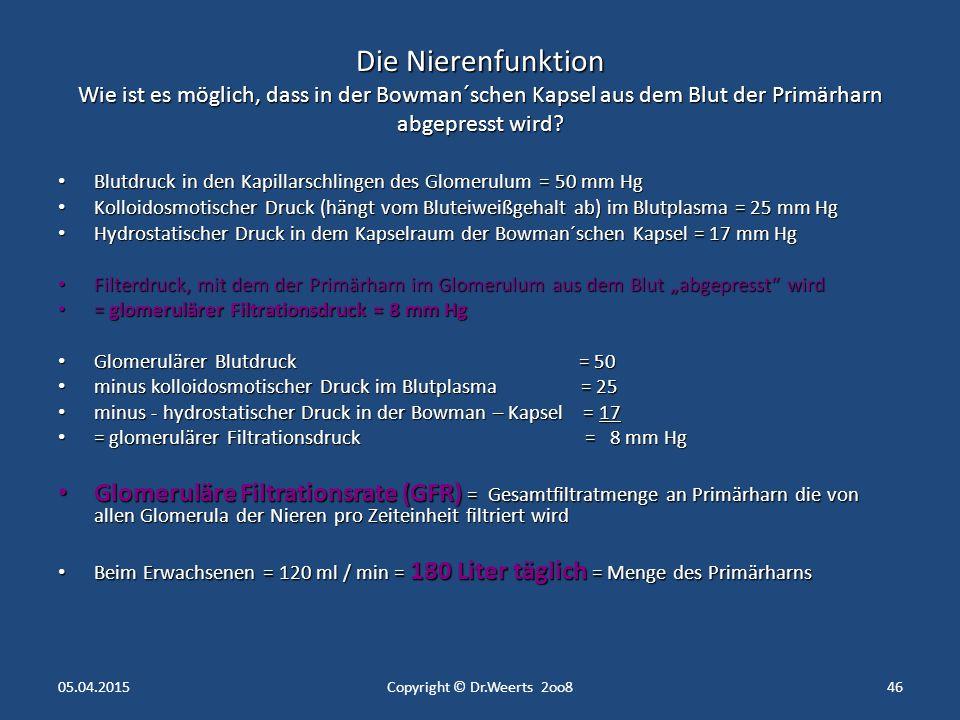 Die Nierenfunktion Physiologie der Niere 05.04.2015Copyright © Dr.Weerts 2oo845