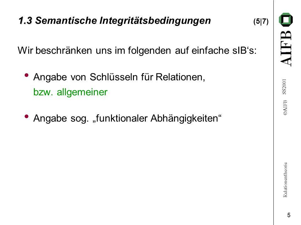 Relationentheorie  AIFB SS2001 5 1.3 1.3 Semantische Integritätsbedingungen (5|7) Wir beschränken uns im folgenden auf einfache sIB's: Angabe von Sch