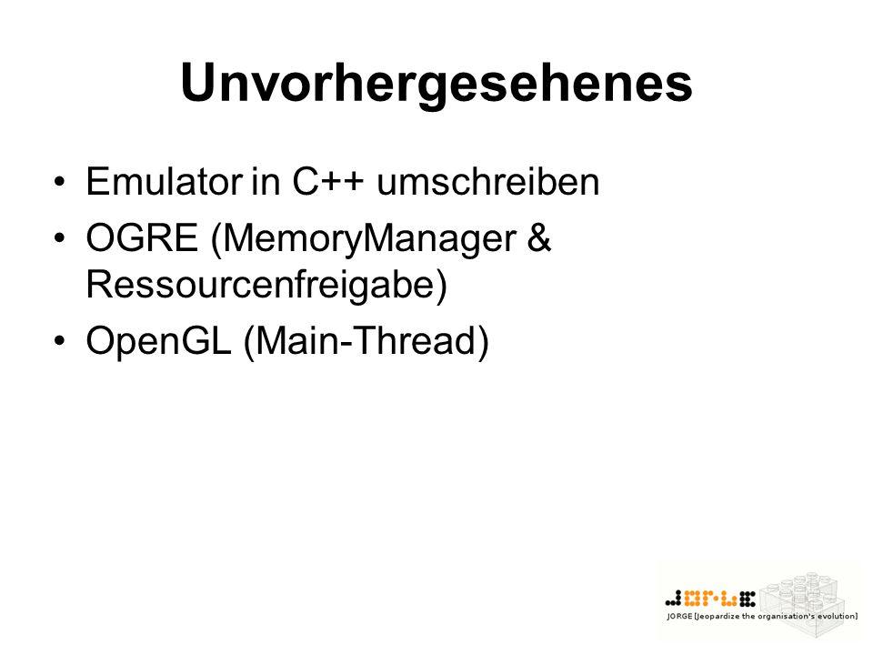 Unvorhergesehenes Emulator in C++ umschreiben OGRE (MemoryManager & Ressourcenfreigabe) OpenGL (Main-Thread)