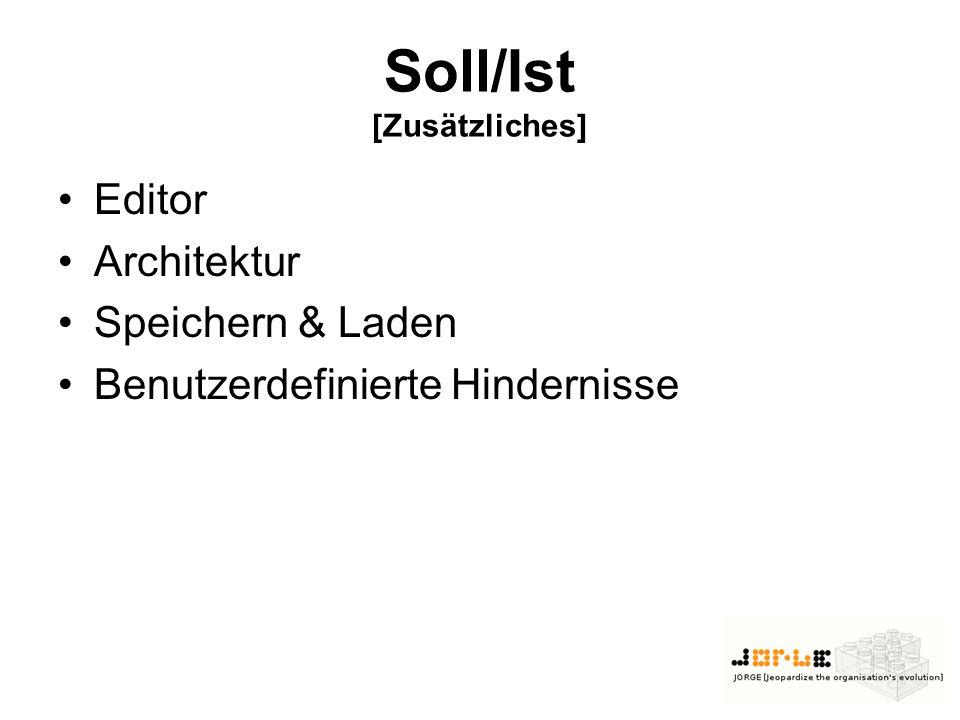 Soll/Ist [Zusätzliches] Editor Architektur Speichern & Laden Benutzerdefinierte Hindernisse