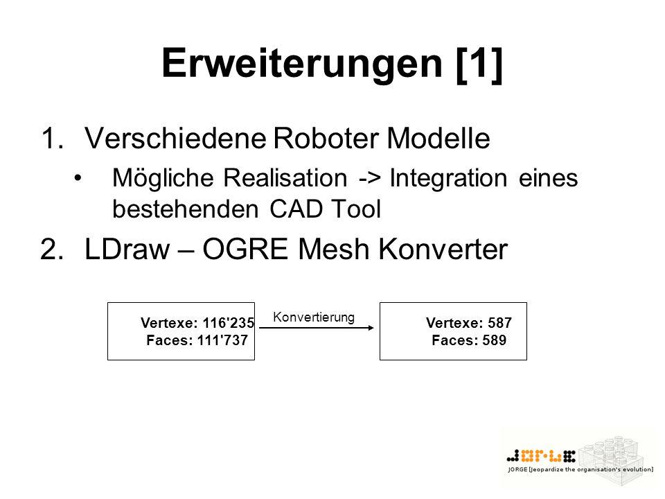 Erweiterungen [1] 1.Verschiedene Roboter Modelle Mögliche Realisation -> Integration eines bestehenden CAD Tool 2.LDraw – OGRE Mesh Konverter Vertexe: 116 235 Faces: 111 737 Vertexe: 587 Faces: 589 Konvertierung