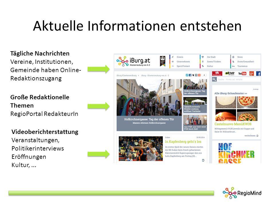 Aktuelle Informationen entstehen Videoberichterstattung Veranstaltungen, Politikerinterviews Eröffnungen Kultur,...