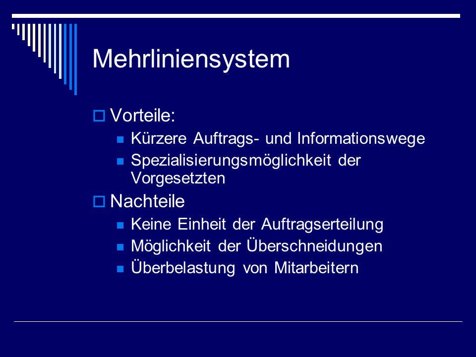 Mehrliniensystem  Vorteile: Kürzere Auftrags- und Informationswege Spezialisierungsmöglichkeit der Vorgesetzten  Nachteile Keine Einheit der Auftrag