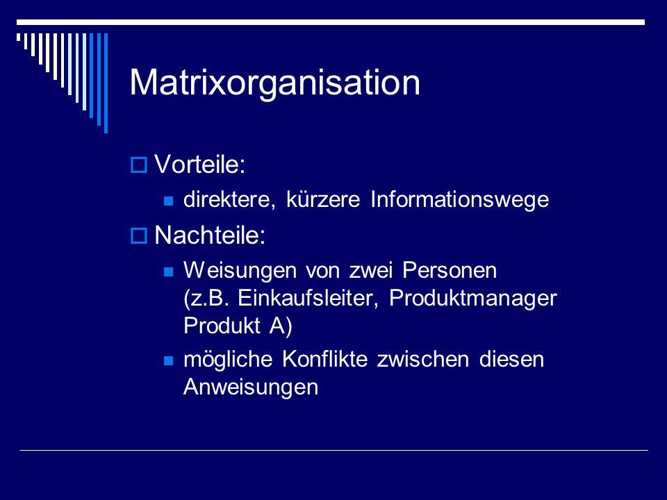 Matrixorganisation  Vorteile: direktere, kürzere Informationswege  Nachteile: Weisungen von zwei Personen (z.B. Einkaufsleiter, Produktmanager Produ