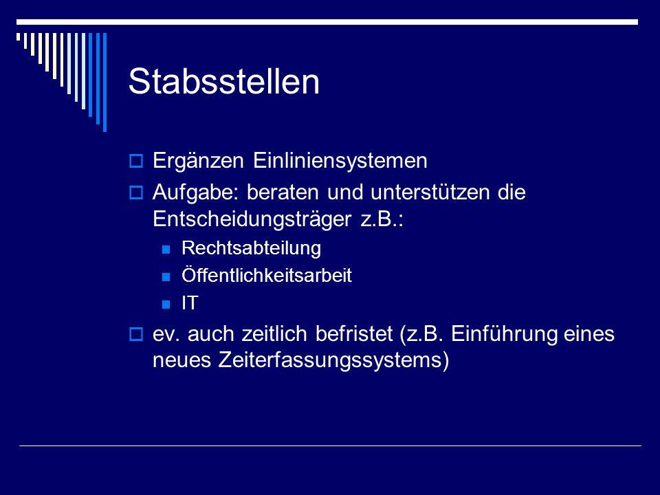 Stabsstellen  Ergänzen Einliniensystemen  Aufgabe: beraten und unterstützen die Entscheidungsträger z.B.: Rechtsabteilung Öffentlichkeitsarbeit IT 
