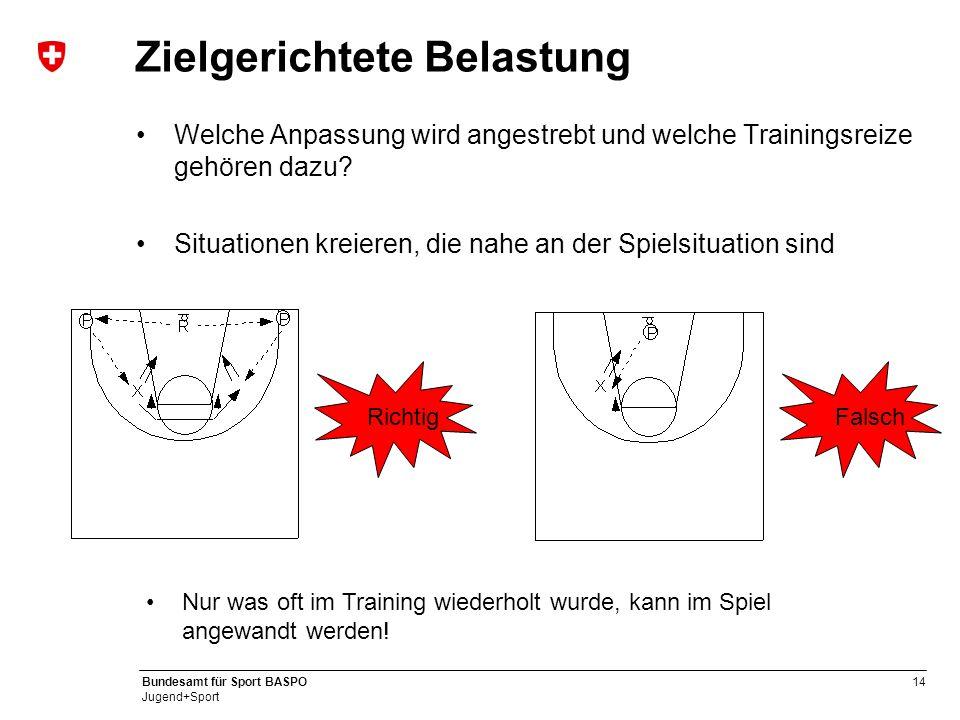 13 Bundesamt für Sport BASPO Jugend+Sport Kontinuierliche Belastung Die Leistungsfähigkeit bildet sich zurück, wenn die Reize ungenügend sind Deshalb
