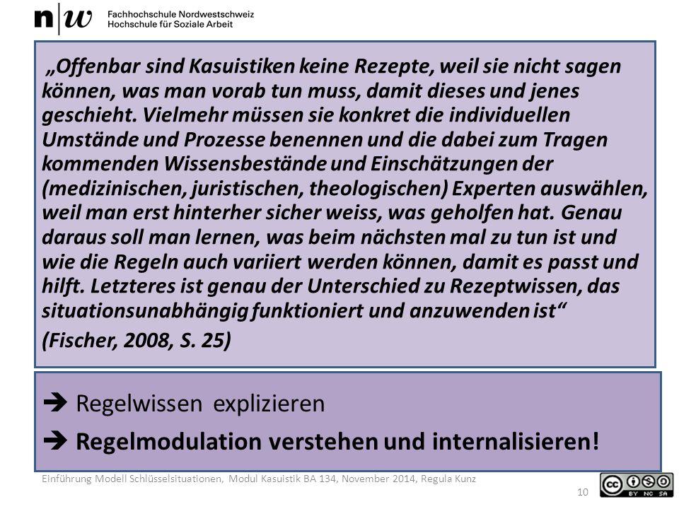 Einführung Modell Schlüsselsituationen, Modul Kasuistik BA 134, November 2014, Regula Kunz  Regelwissen explizieren  Regelmodulation verstehen und internalisieren.