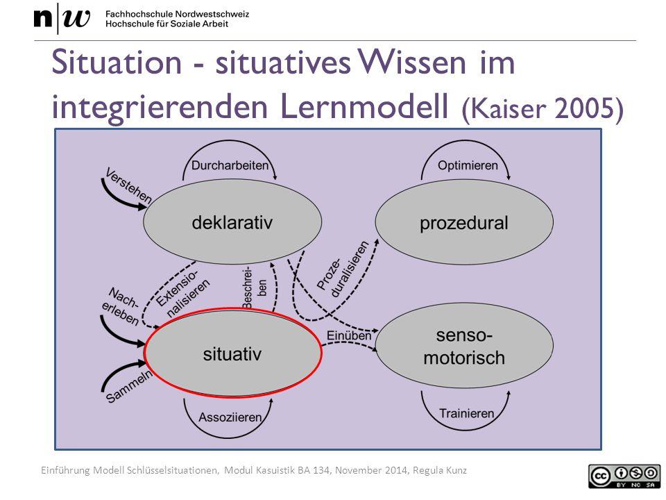 Einführung Modell Schlüsselsituationen, Modul Kasuistik BA 134, November 2014, Regula Kunz Situation - situatives Wissen im integrierenden Lernmodell (Kaiser 2005)