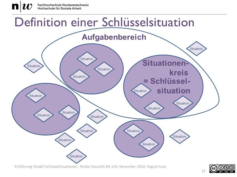Einführung Modell Schlüsselsituationen, Modul Kasuistik BA 134, November 2014, Regula Kunz Definition einer Schlüsselsituation 13 Situation Situationen- kreis Situation Aufgabenbereich = Schlüssel- situation