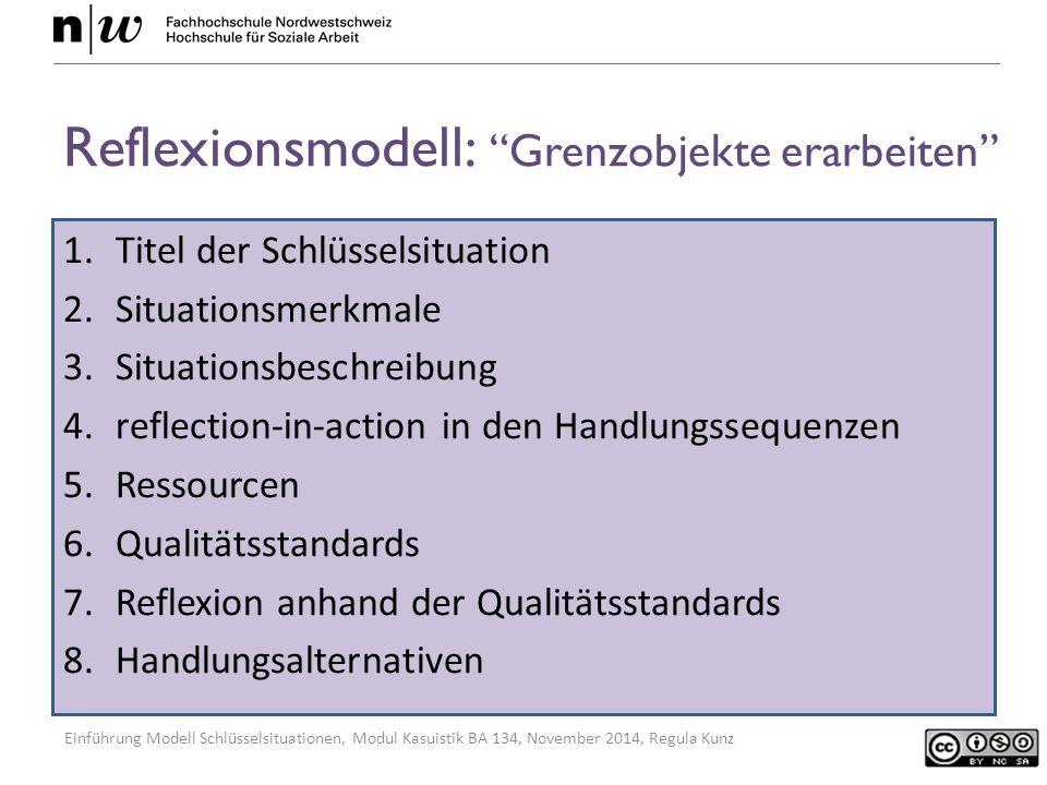 Einführung Modell Schlüsselsituationen, Modul Kasuistik BA 134, November 2014, Regula Kunz Reflexionsmodell: Grenzobjekte erarbeiten 1.Titel der Schlüsselsituation 2.Situationsmerkmale 3.Situationsbeschreibung 4.reflection-in-action in den Handlungssequenzen 5.Ressourcen 6.Qualitätsstandards 7.Reflexion anhand der Qualitätsstandards 8.Handlungsalternativen