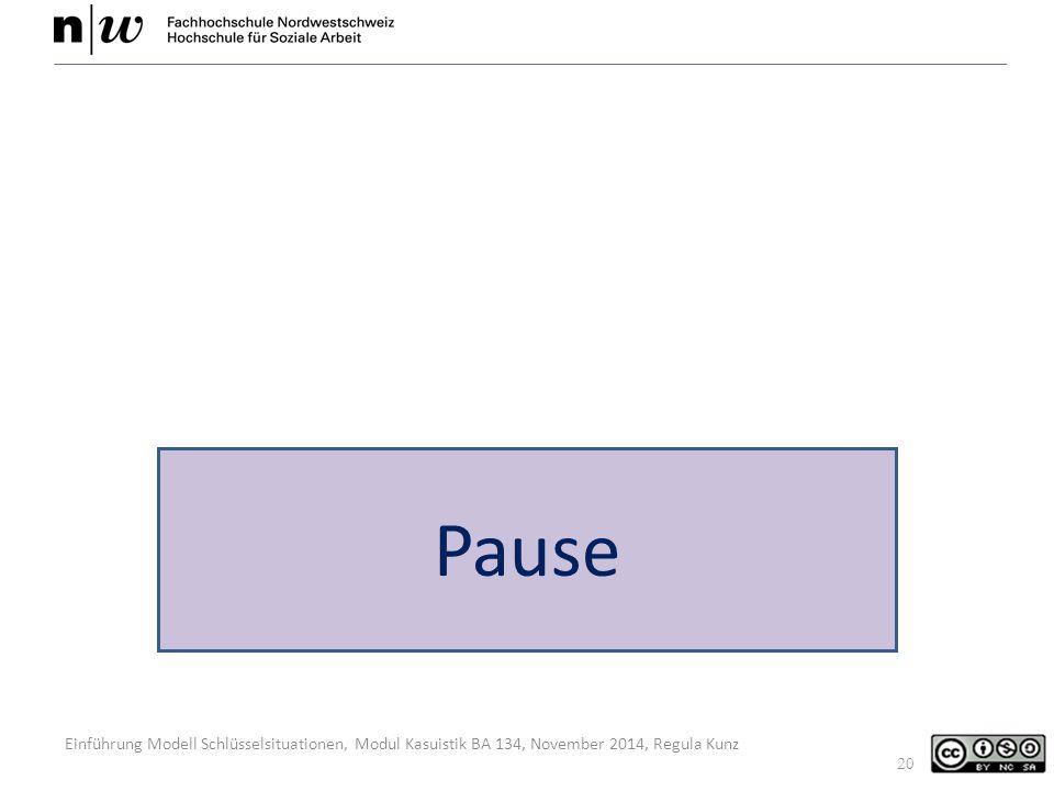 Einführung Modell Schlüsselsituationen, Modul Kasuistik BA 134, November 2014, Regula Kunz Pause 20