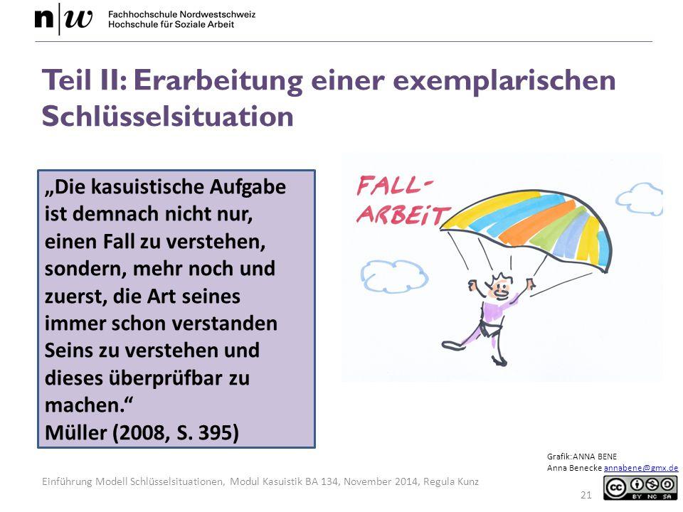 """Einführung Modell Schlüsselsituationen, Modul Kasuistik BA 134, November 2014, Regula Kunz 21 """"Die kasuistische Aufgabe ist demnach nicht nur, einen Fall zu verstehen, sondern, mehr noch und zuerst, die Art seines immer schon verstanden Seins zu verstehen und dieses überprüfbar zu machen. Müller (2008, S."""