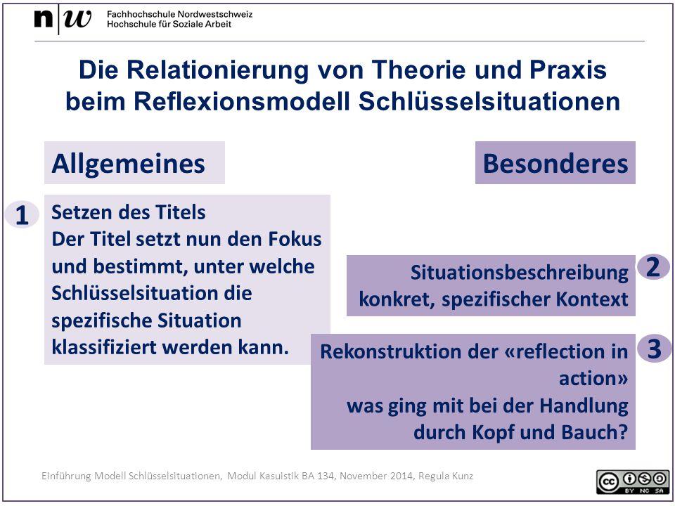 Einführung Modell Schlüsselsituationen, Modul Kasuistik BA 134, November 2014, Regula Kunz AllgemeinesBesonderes Die Relationierung von Theorie und Praxis beim Reflexionsmodell Schlüsselsituationen Situationsbeschreibung konkret, spezifischer Kontext 2 3 Setzen des Titels Der Titel setzt nun den Fokus und bestimmt, unter welche Schlüsselsituation die spezifische Situation klassifiziert werden kann.